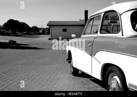 Passenger car Trabant on the roadside - Stock Photo