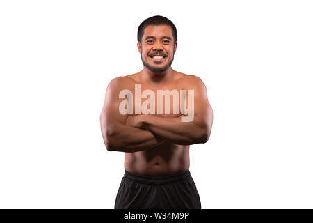Smiling asian man with muscular upper body isolated on white background. Fitness, workout and training concept. - Stock Photo