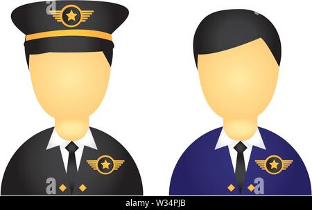 pilot with suit and hat icons isolated over white background vec - Stock Photo