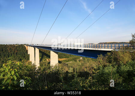 The Mosel valley bridge from top of the view point at the Mosel valley bridge close to Winningen in Germany - Stock Photo