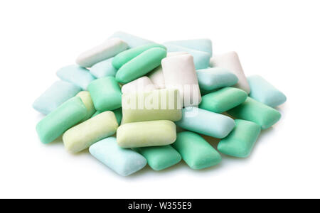 Pile of various sugar free mint chewing gum pieces isolated on white - Stock Photo
