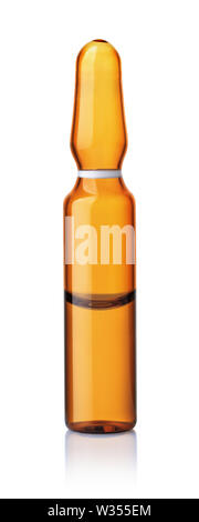 Front view of brown glass ampoule with  medicine isolated on white - Stock Photo
