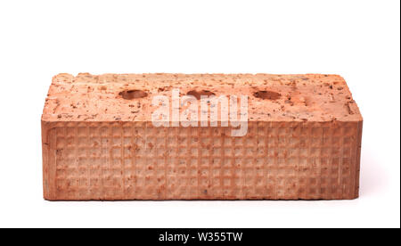 Front view of red ceramics  brick isolated on white - Stock Photo
