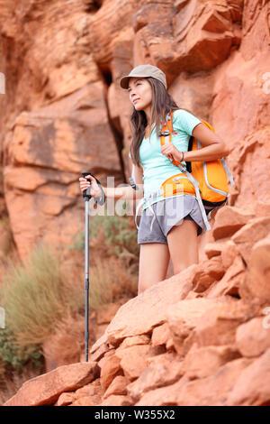 Hiker. Hiking woman enjoying view during hike in Grand Canyon, USA - Stock Photo