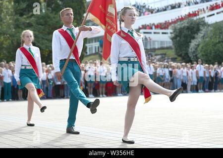 Russia. 11th July, 2019. KRASNODAR TERRITORY, RUSSIA - JULY 11, 2019: Kids marching at the Orlyonok children's centre. Dmitry Feoktistov/TASS Credit: ITAR-TASS News Agency/Alamy Live News - Stock Photo