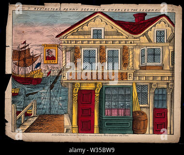 A back-drop scene to be used in a children's theatre production. Coloured lithograph. - Stock Photo