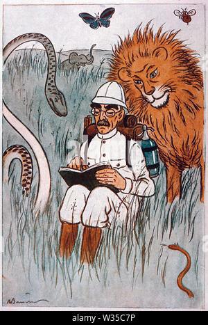 RUDYARD KIPLING (1865-1936) English novelist in a 1929 cartoon - Stock Photo