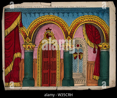 A scene to be used as a backdrop to a children's theatre production. Coloured lithograph. - Stock Photo