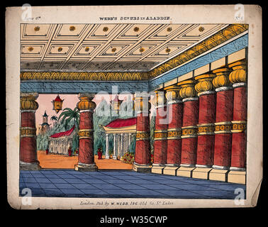 A scene used as a back-drop for a children's theatre production. Coloured lithograph. - Stock Photo