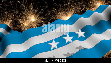 GUAYAQUIL city flag of blue and white color waving on a fireworks with white stars in black background. 3D Illustration - Stock Photo