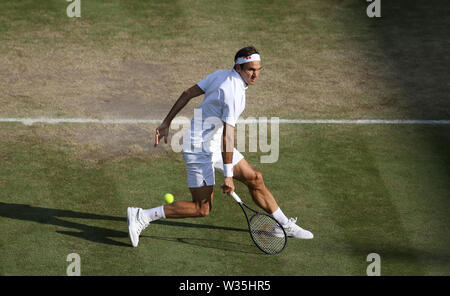 London, UK. 12th July, 2019. Roger Federer (SUI) during his match against Rafael Nadal (ESP) in their Gentleman's Singles Semi-Final match. Credit: Andrew Patron/ZUMA Wire/Alamy Live News - Stock Photo