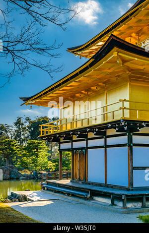 KYOTO, JAPAN, JANUARY - 2019 - Exterior view of famous kinkakuji zen temple at Kyoto city, japan - Stock Photo