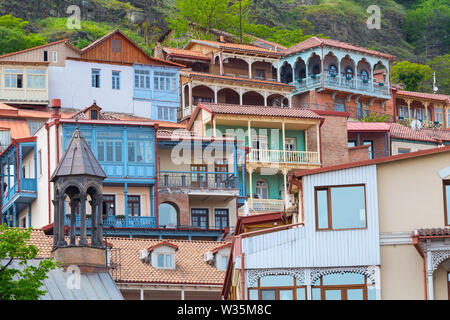 aerial view with houses with traditional wooden carving balconies of Old Town of Tbilisi, Republic of Georgia - Stock Photo