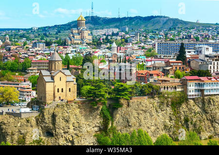 Tbilisi, Georgia aerial skyline with old traditional houses and churches - Stock Photo