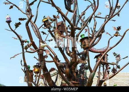 Tbilisi, Republic of Georgia - April 29, 2017: Details of sculpture Tree of Life in Europe square in Tbilisi, Georgia