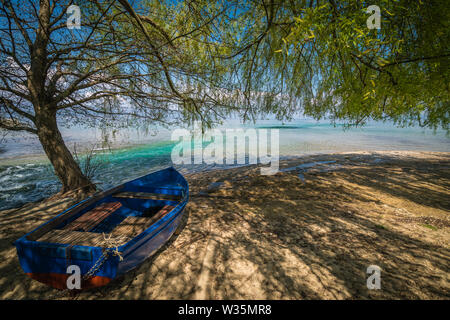 Old blue wooden boat under huge tree on the shore of Lake Ohrid in Sveti Naum, Republic of Macedonia - Stock Photo