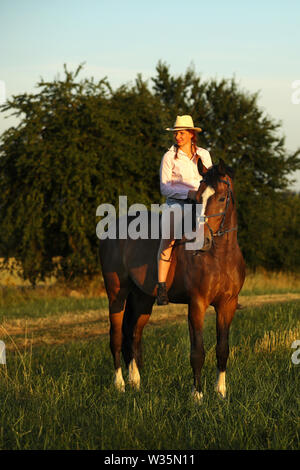 Young lady with hat on brown horse without saddle on meadow - Stock Photo