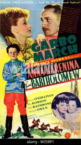 Greta GARBO Fredric MARCH Freddie BARTHOLOMEW in ANNA KARENINA 1935 director Clarence Brown novel Leo Tolstoy producer David O. Selznick Metro Goldwyn Mayer - Stock Photo