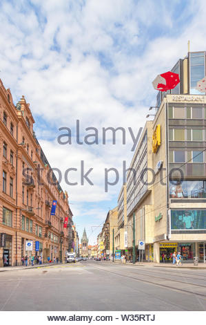 Jindrisska street in Prague. Czech Republic - Stock Photo
