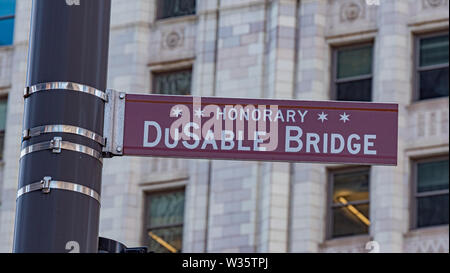DuSable Bridge street sign in Chicago - CHICAGO, USA - JUNE 11, 2019 - Stock Photo