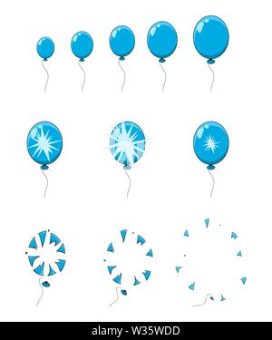 balloon pop, explosion, burst animation step, frames isolated on white - Stock Photo