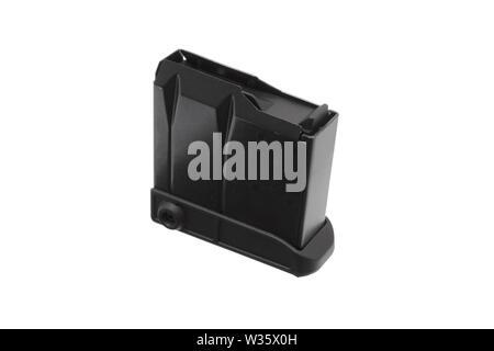 Assault rifle magazine isolated on white background - Stock Photo