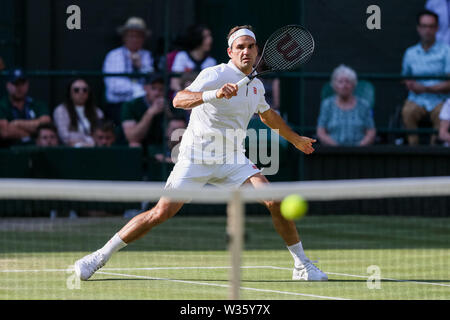 London, UK. 12th July, 2019. Roger Federer of Switzerland during the men's singles semi-final match of the Wimbledon Lawn Tennis Championships against Rafael Nadal of Spain at the All England Lawn Tennis and Croquet Club in London, England on July 12, 2019. Credit: Aflo Co. Ltd./Alamy Live News - Stock Photo