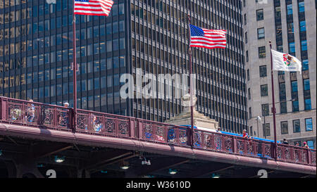 Famous DuSable Bridge in Chicago - CHICAGO, USA - JUNE 11, 2019 - Stock Photo