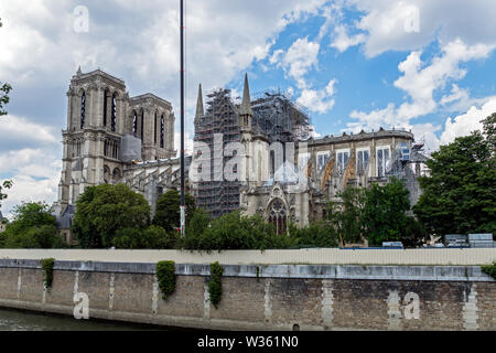 Notre Dame de Paris: Reinforcement of the flying buttresses after the fire - Stock Photo