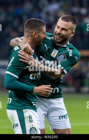 Zé Rafael, a Palmeiras player, celebrates his goal during a match between Palmeiras and Internacional, validated by the quarterfinals of the Continent - Stock Photo