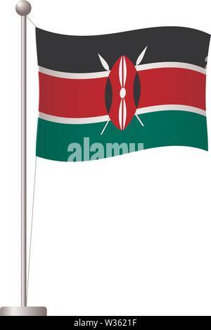 Kenya flag on pole. Metal flagpole. National flag of Kenya vector illustration - Stock Photo