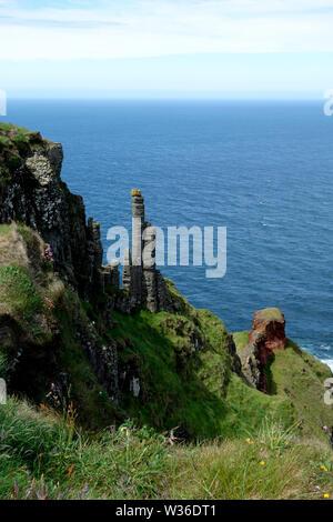 The Chimney Tops (Columns) on the Giant's Causeway Coastal Path, County Antrim, Northern Ireland, UK - Stock Photo