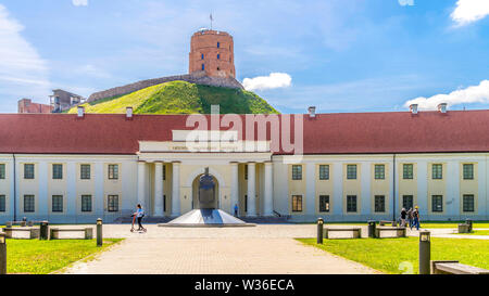 Vilnius, Lithuania - June 03, 2019: Lithuanian National Museum and the Tower of Gediminas in Vilnius - Stock Photo
