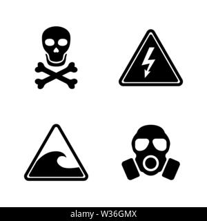 Danger. Simple Related Vector Icons Set for Video, Mobile Apps, Web Sites, Print Projects and Your Design. Black Flat Illustration on White Background - Stock Photo