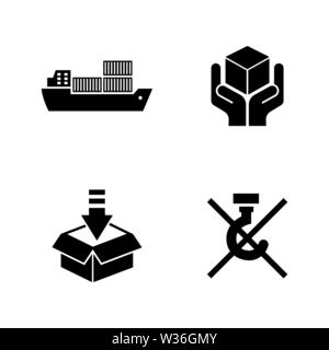 Priority Shipping. Simple Related Vector Icons Set for Video, Mobile Apps, Web Sites, Print Projects and Your Design. Black Flat Illustration on White - Stock Photo