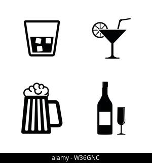Alcohol Drinks. Simple Related Vector Icons Set for Video, Mobile Apps, Web Sites, Print Projects and Your Design. Alcohol Drinks icon Black Flat Illu - Stock Photo