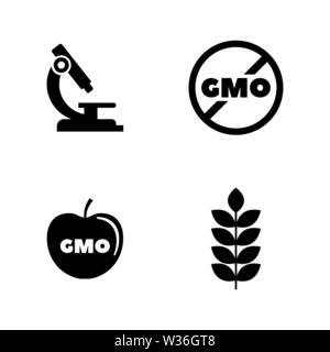 Gmo. Simple Related Vector Icons Set for Video, Mobile Apps, Web Sites, Print Projects and Your Design. Black Flat Illustration on White Background. - Stock Photo