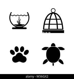 Keeping Pets. Simple Related Vector Icons Set for Video, Mobile Apps, Web Sites, Print Projects and Your Design. Keeping Pets icon Black Flat Illustra - Stock Photo