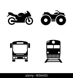 Public Transport. Simple Related Vector Icons Set for Video, Mobile Apps, Web Sites, Print Projects and Your Design. Public Transport icon Black Flat - Stock Photo