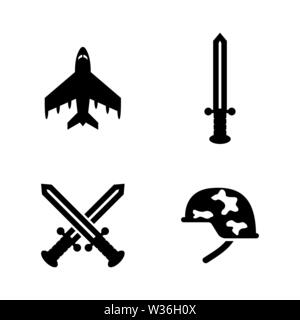 Military Weapons. Simple Related Vector Icons Set for Video, Mobile Apps, Web Sites, Print Projects and Your Design. Military Weapons icon Black Flat - Stock Photo