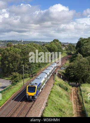 Arriva Northern rail CAF class 195 train passing Morecambe south Junction on the west coast main line with a driver training run - Stock Photo