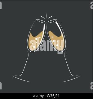 toasting with champagne celebration design vector illustration EPS10 - Stock Photo