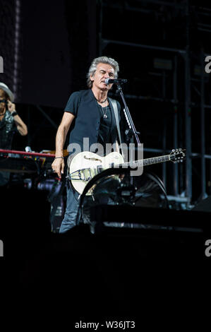 Rome, Italy. 12th July, 2019. Luciano Ligabue in concert in Rome for the last leg of his Start Tour 2019. At the Olympic Stadium in Rome the singer presents the songs from his latest album Start along with those that have extolled his thirty-year career. Credit: Independent Photo Agency/Alamy Live News - Stock Photo