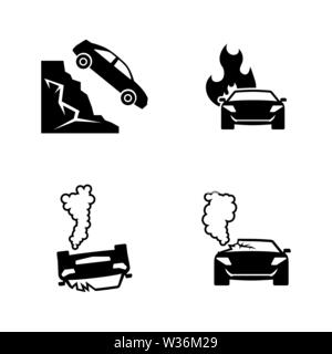 Road accident. Simple Related Vector Icons Set for Video, Mobile Apps, Web Sites, Print Projects and Your Design. Black Flat Illustration on White Bac - Stock Photo