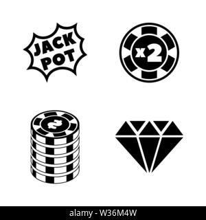 Gambling Casino. Simple Related Vector Icons Set for Video, Mobile Apps, Web Sites, Print Projects and Your Design. Gambling Casino icon Black Flat Il - Stock Photo
