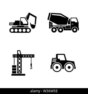 Construction Building Machines. Simple Related Vector Icons Set for Video, Mobile Apps, Web Sites, Print Projects and You Design. Construction Vehicle - Stock Photo
