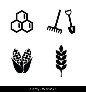 Agriculture, Farming. Simple Related Vector Icons Set for Video, Mobile Apps, Web Sites, Print Projects and Your Design. Agriculture, Farming icon Bla - Stock Photo