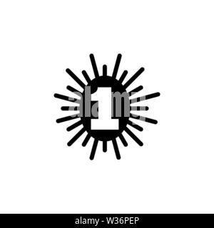 Number One. Flat Vector Icon. Simple black symbol on white background - Stock Photo