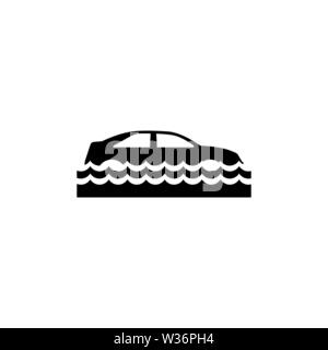 Car Insurance and Flood Risk. Flat Vector Icon. Simple black symbol on white background - Stock Photo