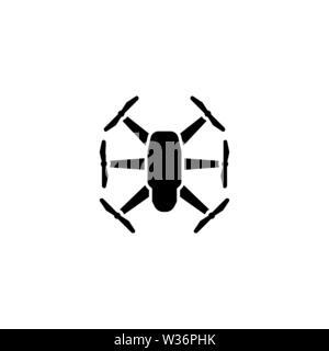 Quadrupter Dron. Flat Vector Icon. Simple black symbol on white background - Stock Photo
